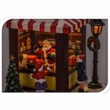 Kerstdorp marktkraampje speelgoedwinkel 15 cm met led lichtjes