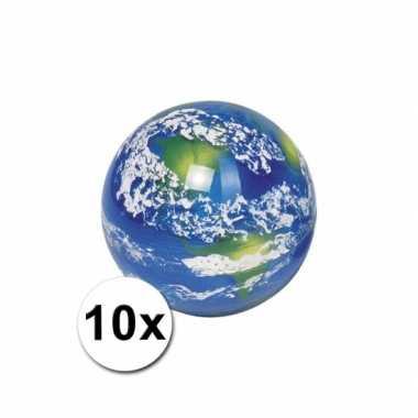 Kinderspeelgoed stuiterballen wereldbol 10 st