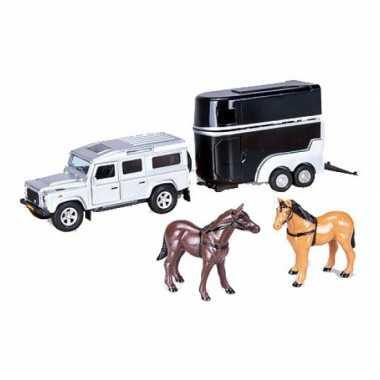 Kinderspeelgoed zilveren land rover met paardentrailer