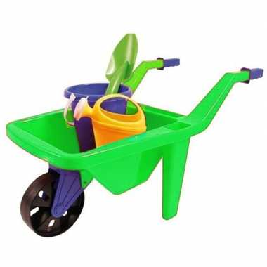 Kruiwagen groen buitenspeelgoed setje voor kinderen 65 cm