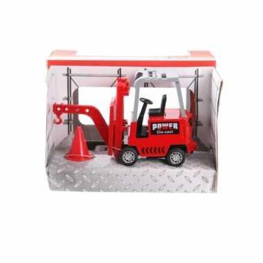 Metalen rode heftruck speelgoed 17 cm 10077618