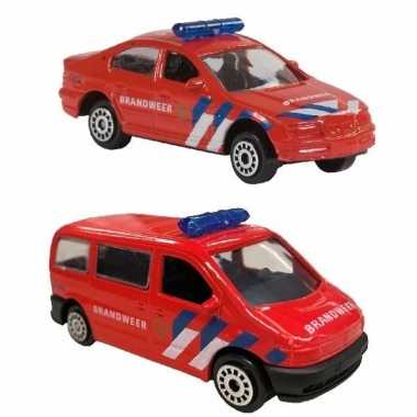 Nederlandse brandweer speelgoed modelauto set 2-dlg