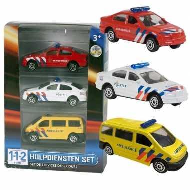 Nederlandse politie/brandweer/ambulance speelgoedauto set