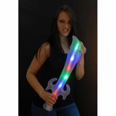 Opblaasbaar piraten verkleed/speelgoed zwaard met led licht 65cm