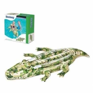 Opblaasbare krokodil met camouflageprint 175cm ride-on speelgoed