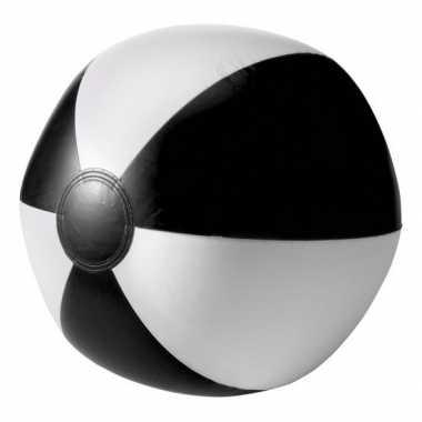 Opblaasbare speelgoed strandbal zwart 26 cm