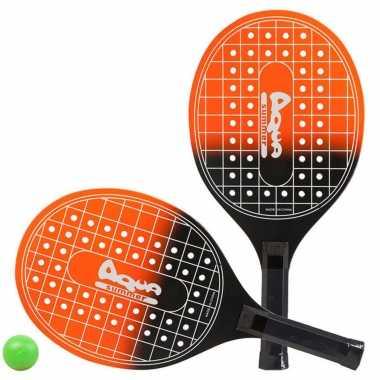 Oranje/zwarte beachball set met tennisracketprint buitenspeelgoed
