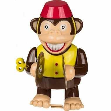 Ouderwetse speelgoed aap met bekkens 10 cm