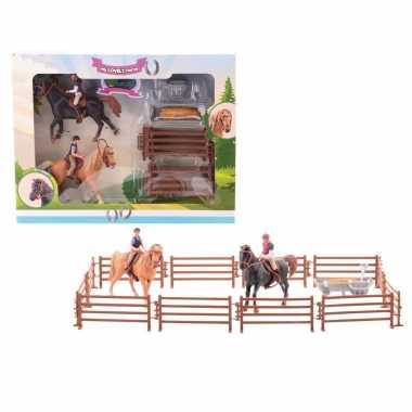 Paarden speelgoed figuren set zwart/bruin 21-delig
