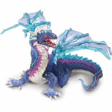 Plastic draak blauw 15 cm speelgoed