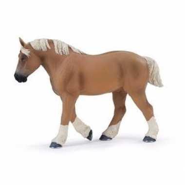 Plastic speelgoed figuur belgisch trekpaard hengst 13 cm