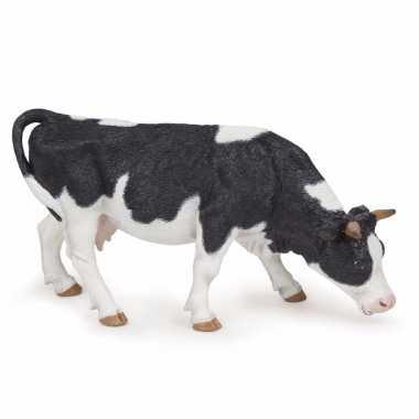 Plastic speelgoed figuur grazende koe 14 cm