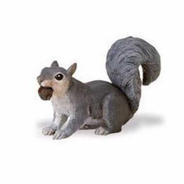 Plastic speelgoed figuur grijze eekhoorn 7 cm