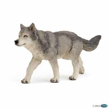 Plastic speelgoed figuur grijze wolf 12 cm