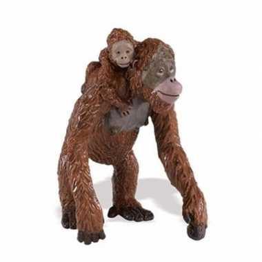 Plastic speelgoed figuur orang oetan aap met baby 9 cm