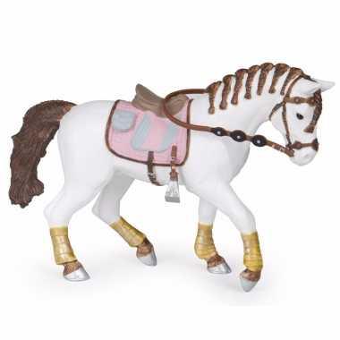 Plastic speelgoed figuur paard met gevlochten manen 14.5 cm