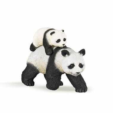 Plastic speelgoed figuur panda met baby 8 cm