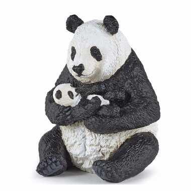 Plastic speelgoed figuur panda met baby panda 8 cm