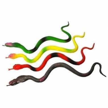 Plastic speelgoed figuur slangen set 23 cm 4 stuks