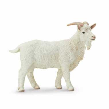 Plastic speelgoed figuur witte geit bok 9 cm