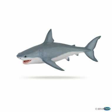 Plastic speelgoed figuur witte haai 19 cm