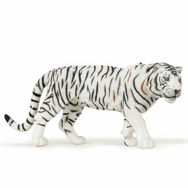 Plastic speelgoed figuur witte tijger 15 cm