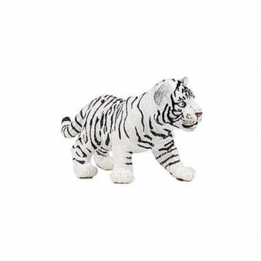 Plastic speelgoed figuur witte tijger welpje 7 cm