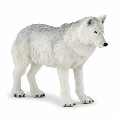 Plastic speelgoed figuur witte wolf 9,5 cm