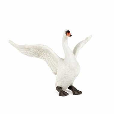Plastic speelgoed figuur witte zwaan 11 cm