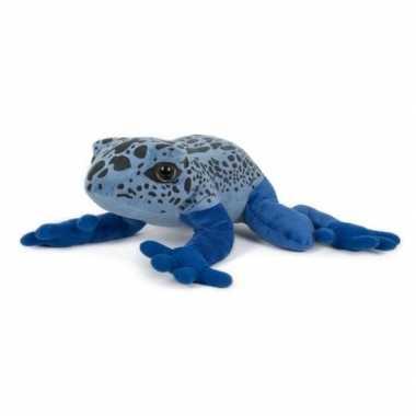 Pluche blauwe pijlgifkikker knuffel 36 cm speelgoed
