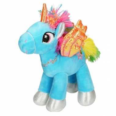Pluche blauwe speelgoed eenhoorn knuffel met vleugels 20 cm