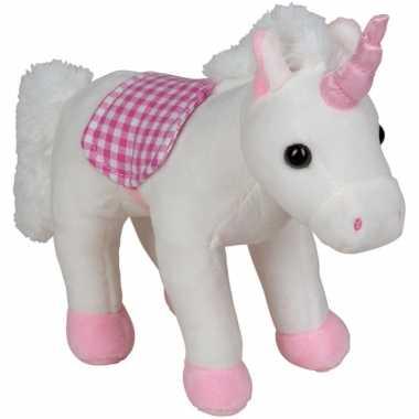 Pluche eenhoorn knuffel wit/roze 20 cm speelgoed