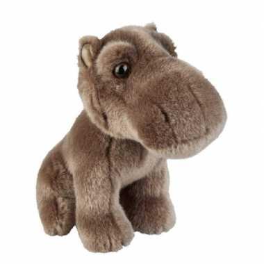 Pluche grijs bruine nijlpaard knuffel 18 cm speelgoed
