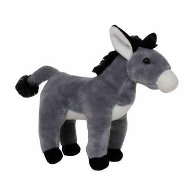 Pluche grijze ezel knuffel 24 cm speelgoed
