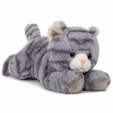 Pluche grijze poes/kat knuffel liggend 25 cm speelgoed