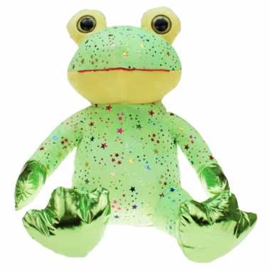 Pluche groene kikker knuffel met glitters 30 cm speelgoed