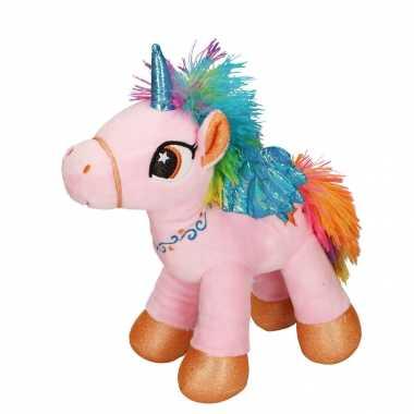 Pluche roze speelgoed eenhoorn knuffel met vleugels 20 cm