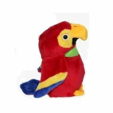 Pluche speelgoed ara papegaai rood 15 cm
