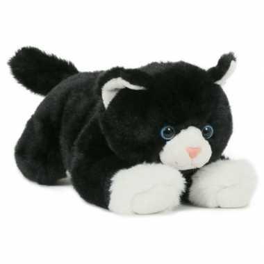 Pluche zwart/witte poes/kat knuffel liggend 25 cm speelgoed