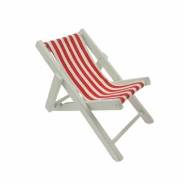 Poppen speelgoed strandstoel rood/wit gestreept
