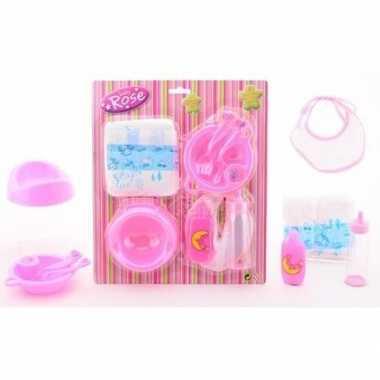 Poppen speelgoed verzorgingsset 8 delig