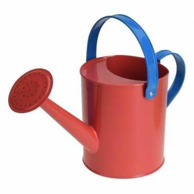Rode stalen speelgoed gieter 15 cm voor kinderen