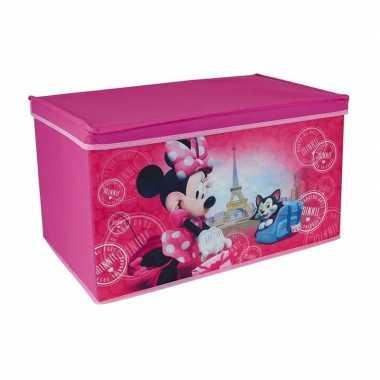 Roze minnie mouse disney speelgoed opbergbox 55 cm