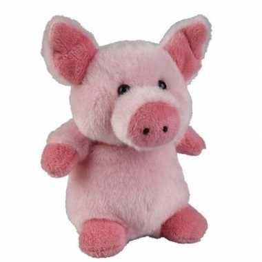 Roze pluche varken biggetje knuffel 12 cm speelgoed