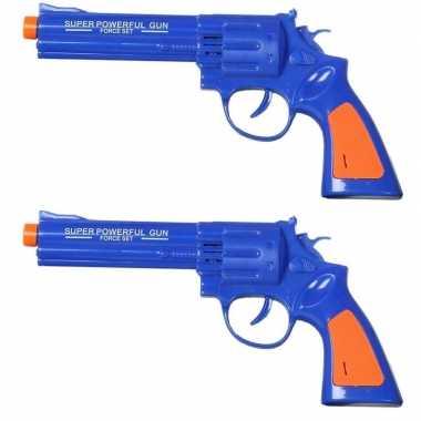 Set van 2x stuks speelgoed pistool/pistolen blauw met geluid 23 x 11 cm