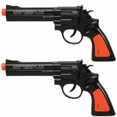 Set van 2x stuks speelgoed pistool/pistolen zwart met geluid 23 x 11 cm