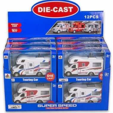 Speelgoed auto camper wit rood 10 x 17 cm