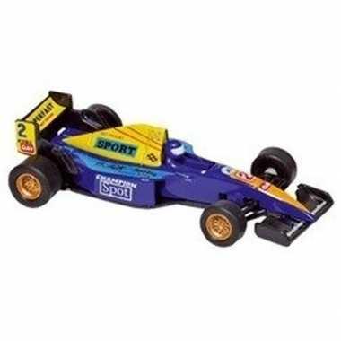 Speelgoed auto formule 1 wagen blauw 10 cm