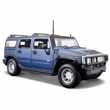 Speelgoed auto hummer h2 blauw 1:24