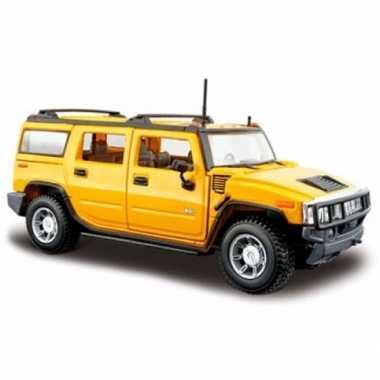 Speelgoed auto hummer h2 geel 1:24